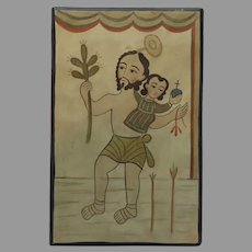 Jesus with Child  and Cactus Hand Painted and Signed Dated November '96 Retablos Folk Art Raymond Lopez