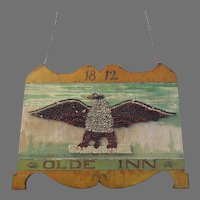 Vintage Hand Made Tub Inn Sign Eagle Folk Art Prop Bar Decor