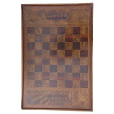 Vintage Game Chess Checkers Inlaid Wooden Board Crowns Motif