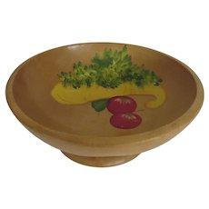 Vintage Munising Wooden Bowl Pedestal Base Hand Painted Vegetables Country Kitchen