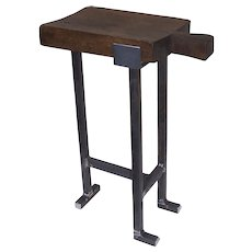 """French Cutting Board """"Planche"""" Side Table Country Rustic Iron Custom Base"""