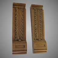 Pair of Carved Fireplace Shrouds With Acanthus Leaf Motif.