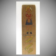 Hand Painted Child's Growth Measuring Stick 1940's