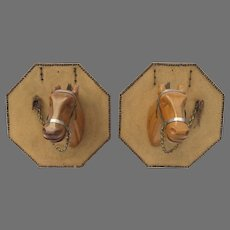 Pair Mid Century Stylized Hand Carved Horse Head Mounts Folk Art