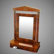 French Empire Dressing Mirror Flame Grain Mahogany 19th Century
