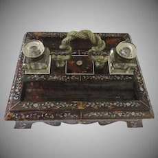 19th Century Ink Stand Anglo Indian Serpent Motif Handle