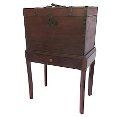 """Immigrants Trunk Box Chest on Stand Old Red Paint/Stain """"D.J. Stokes Trunk for Voyage to America"""" Side End Table"""