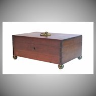 American Mahogany Small Box on Round Brass Feet