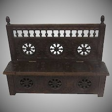French Brittany Doll Lift Top Settee Bench Chest