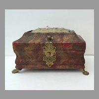 English Marbleized Leather Sewing Casket Box Brass Paw Feet