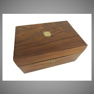 English Walnut Work Box with Brass Shield