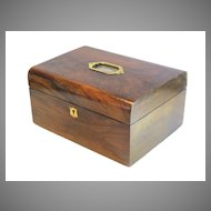 English Walnut Box with Brass Top Shield Shape Escutcheon
