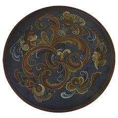 "Large Vintage Hand Painted Norwegian Rosemaling Wall Plaque Plate 16 1/4"" Diameter Signed V. Hall 1991"