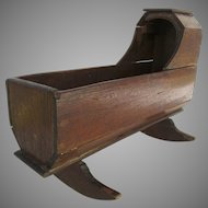Early English Oak Child's Doll Cradle Hooded Rockers Primitive
