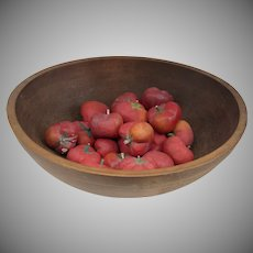 Vintage American Turned Large Wooden Dough Bowl