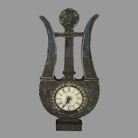 Vintage Reverse Green Painted Lyre Shaped Clock Decoration