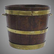 19th Century Brass Bound Coopered Bucket with Brass Bands