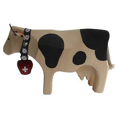 Vintage Handmade Wooden Swiss Cow with Bell