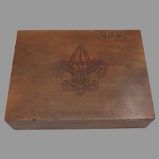 Vintage Boy Scout Insignia Wooden Box