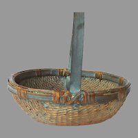 Vintage Chinese Willow Basket Blue Green Paint