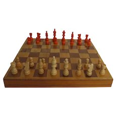 Vintage Hand Made Chess Checkers Folding Board