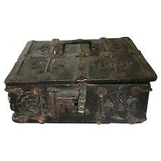 16th Century European Carved Missal Casket Box with Strapwork
