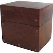 19th Century Folk Small Hinged Box Mahogany Inlaid Dots Dice