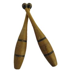 Vintage Large Pair of 1920s Wooden Exercise Pins Clubs