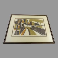 Vintage Woodblock Abstract City Scene