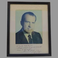 Signed Nixon portrait addressed to Peter Dominick