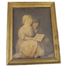 19th Century Print of Two Children reading