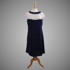 Vintage 1950s Pattullo-Jo Copeland Dress Rhinestones Navy Blue
