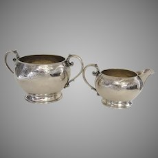 19th Century Sterling Gold Wash Creamer & Sugar by William Comyns