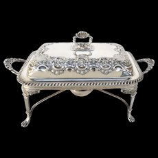 19th Century Silver Plate Entree Server with Burner
