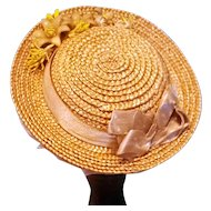 French Fashion Bonnet, Antique Straw, Artist-Made