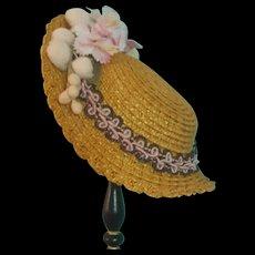 """Straw Bonnet for 7-7.5"""" Doll Head ~ Artist-Made, Avant-Garde!"""