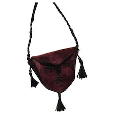 """Velvet Purse For French Fashion, 16-20"""" Doll ~ Artist-Made - Red Tag Sale Item"""