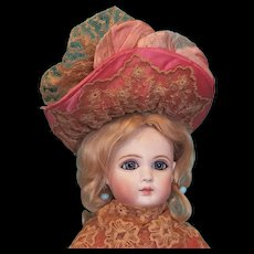 """Antique Silk Doll Bonnet for Large French Fashion or Bebe, Artist-Made - 8"""""""