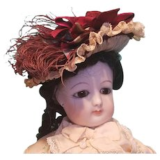 "Straw Lady's Bonnet for French Fashion or Bebe, 7"" Head ~ Artist-Made, Cherie's Petite Boutique"