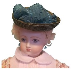 "Huret Style Bonnet for French Fashion  6.5 to7"" Head ~ Artist-Made, Cherie's Petite Boutique"