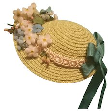 "Straw Bonnet for 5-6.5"" Doll Head ~ Artist-Made, Avant-Garde, Cherie's Petite Boutique"