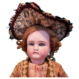 """Straw Lady's Bonnet for French Fashion or Bebe, 6-7.5"""" Head ~ Artist-Made, Cherie's Petite Boutique"""
