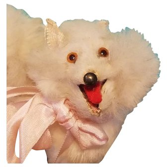 Tiny Antique Fur Dog for French Fashion