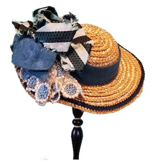 """Straw Bonnet for French Fashion or Bebe, 6-7.5"""" Head ~ Artist-Made, Cherie's Petite Boutique"""