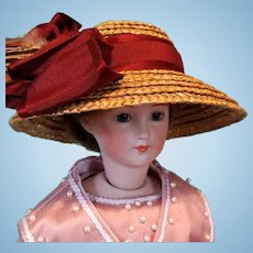 """Straw Lady's Bonnet in the Edwardian Style, 6-6.5"""" Head ~ Artist-Made, Cherie's Petite Boutique"""
