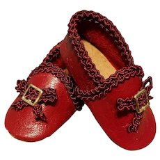 Leather Huret Style Slippers, Artist-Made, Cherie's Petite Boutique