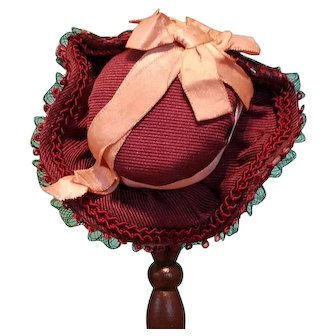"""Silk Bonnet for Small French Fashion or All-Bisque, 5-6"""" Head ~ Artist-Made, Cherie's Petite Boutique"""