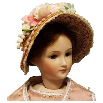 "Straw Bonnet for 5-6"" Doll Head ~ Artist-Made, Avant-Garde, Cherie's Petite Boutique"