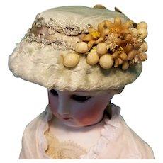 "Antique Silk Plush French Fashion Bonnet for 7-7.5"" Head ~ Artist-Made, Cherie's Petite Boutique"