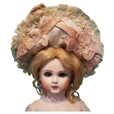 "Antique Silk & Lace Bonnet for Bebe, 7-8"" Head ~ Artist-Made, Cherie's Petite Boutique"